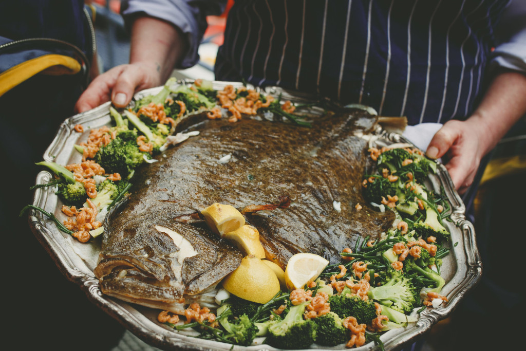 Leon co-founder Allegra McEvedy cooks up turbot & tea to launch the RNLI Fish Supper fundraiser, but a call-out delays proceedings! RNLI/Nick Watts Digital